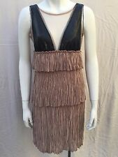 BCBG Max Azria Dress XXS Beige Black Sequin Sleeveless Tiered Averil Cocktail