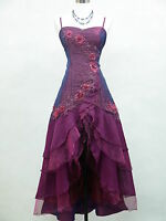 Cherlone Satin Dark Purple Lace Prom Ball Gown Wedding/Evening Dresds Size 16-18