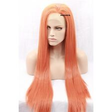 """26"""" Long Straight Orange Lace Front Wig Heat Resistant Synthetic Hair"""