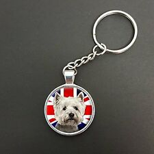 Westie Dog Union Jack Pendant On A Split Ring Keyring Ideal Birthday Gift N340