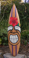 Happy Tiki Hibiscus Flower tropical Wood Surfboard Wall Plaque Tiki Bar 38""