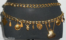 ESCADA Vintage Belt Metal 10 40  Link Gold Leather Hearts Purse Charms HapaChico