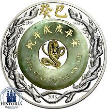 Laos 2000 kip plata 2013 pp lunar año de la serpiente 2 Oz moneda de plata con Jade