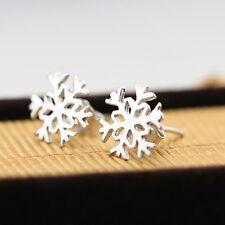Da Donna 925 SILVER PLATED Coppia di SWEET Snowflake Orecchini / Natale