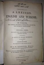 OTTOMAN TURKISH - ENGLISH DICTIONARY A Lexicon English And Turkish REDHOUSE 1877