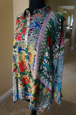 NEW Johnny Was Silk Floral Balu Oversized Long Sleeve Tunic Top Blouse S M SOFT