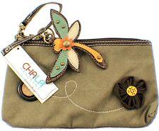 Chala Dragonfly Clutch Purse Canvas & Leather Key Chain Fob #804DF3
