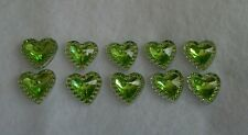 10 x Lime Green Sparkly Hearts ~ Flatback Resin ~ For Hair Bows, Crafts, Cards ~