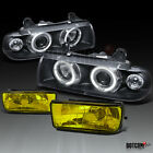 92-98 BMW 3-SERIES 2/4DR DUAL HALO BLACK PROJECTOR HEAD LIGHTS+YELLOW FOG LAMPS