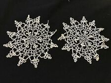 PAIR OF VINTAGE HAND TATTED/TATTING OFF WHITE SNOWFLAKE DOILIES