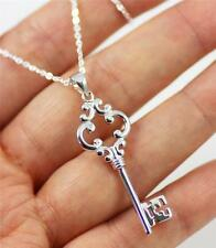 """925 Sterling Silver 2 side Figured Old-Fashioned Key Pendant Necklace 18"""" + box"""