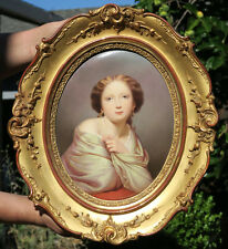 Antique Porcelain KPM Berlin lady plaque giltwood carved wood Frame painting