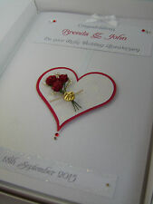 Personalised Ruby 40th Wedding Anniversary Card, Swarovski crystals, boxed