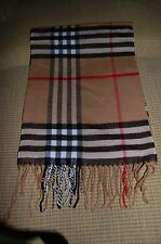 Women's Scarf Nova Check Plaid Fringe - Beige