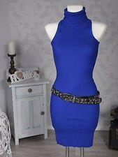 Damen Strickkleid Kleid Rollkragen ärmellos Stretch Rippstrick blau Neu