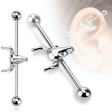 316L Surgical Steel Bull Head Ear Cartilage Industrial Barbell Piercing 14 GA