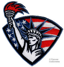 PATRIOTIC STATUE OF LIBERTY PATCH iron-on USA AMERICAN FLAG SHIELD embroidered