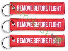 QTY= 3 PIECE RED/White REMOVE BEFORE FLIGHT FABRIC KEY CHAIN AVIATION TAGS