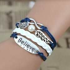Multilayer Believe Angel Wings Infinity Leather Charm Bracelet plated Fashion