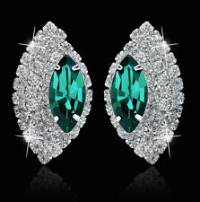 10k White GP Sparkling Clear & Green AB Rhinestone Crystal Post Earrings