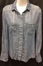CLOTH AND STONE Anthropologie Denim Print Chambray Blue Shirt Blouse Sz XS