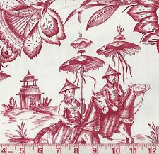 Duralee Imperial Journey Special Red White Asian Toile Print Fabric BTY
