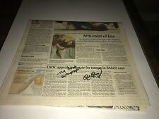 Ronda Rousey 1st Autograph Ever Signed Newspaper Steve Grad Authenticated BAS