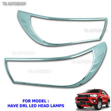 Chrome Head Lamp Light Cover For Top Toyota Hilux Revo DRL Sr5 Pick Up 2016 2017