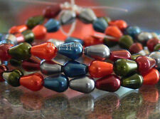 Jewel Tone Teardrop Mix Czech Glass Pearl Beads 25 New Arrivals