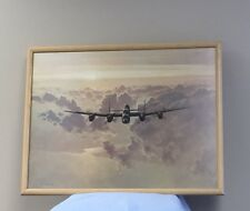 Vintage Military Lancaster World War 2 Bomber Plane Print Painting UK Avro USA