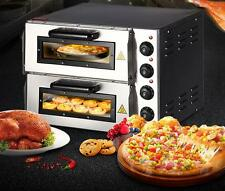 "New 220V 16"" Double Electric Pizza Oven Commercial Ceramic Stone T"