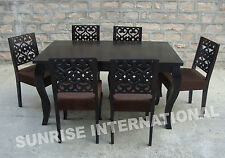 French Style Wooden Dining table with 6 cushion chairs furniture set !