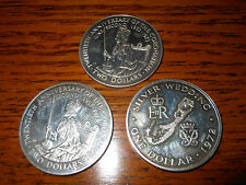 3 silver coins 1Bermuda one dollar 1972 Cook Island 1973 two dollars coronation