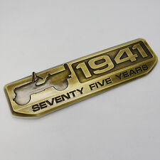 2016 JEEP 1941 75 YEAR ANNIVERSARY WILLYS EMBLEM NAMEPLATE BADGE METAL