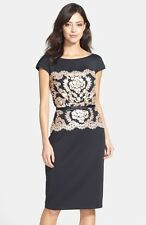 TADASHI SHOJI BELTED LACE NEOPRENE SHEATH BLACK/GOLD  DRESS sz 10