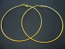 "A PAIR OF GOLD PLATED  LARGE 80MM 8CM  3.5""  LARGE HOOP  EARRINGS. NEW."