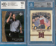 TIGER WOODS 2 CARDS PGA GOLF WORN RELIC BGS 8.5 NM-MT+& GRADED 10 2001 STAT CARD