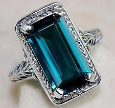 7CT London Blue Topaz 925 Solid Genuine Sterling Silver Filigree Ring Sz 8, F2-3