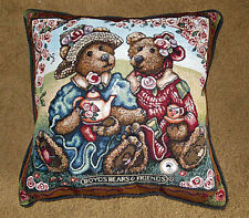 Boyds Bears Afternoon Tea Tapestry Square Pillow