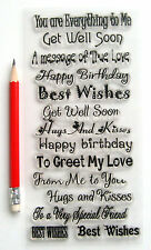 """Clear Stamps Lot (4""""x7"""") Greetings Wishes FLONZ Happy Birthday Rubber 803"""