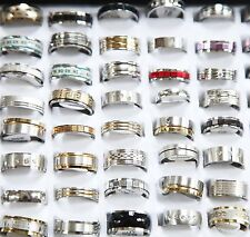 100Pcs New Style Mix STAINLESS STEEL MEN'S Fashion RINGS WHOLESALE BULK /w case