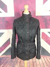 #610 Barbour Ladies New Flyweight International Black Quilt Biker Jacket, UK 8