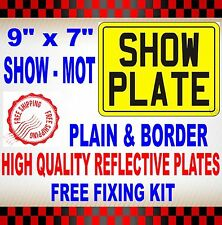 "HIGH QUALITY MOTORCYCLE NUMBER PLATES SHOW PLATES 9"" x 7"" PLAIN WITH BORDER"