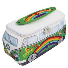 Official VW Camper Van Waterproof Neoprene Ladies Toiletry Wash Bag - Green