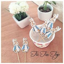 12 x Peter Rabbit CUPCAKE TOPPER Pick. Party Supplies Food Decoration