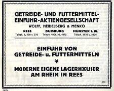Wolf,Heidelberg & Menko Rees Duisburg Münster EINFUHR Historische Reklame 1925