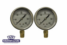"2-Pk 0-60 psi 2.5"" Hydraulic-Air-Water Pressure Gauge"