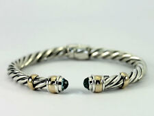 Sterling Silver 14k Yellow Gold Faceted Blue Topaz Twisted Hinged Cuff Bracelet