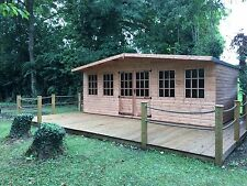 20 x 10  Wooden Chalet style summerhouse with 4 fixed windows.