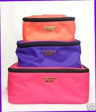 SET Victoria's Secret PINK PURPLE ORANGE Makeup Bag Travel Case Pouch Box Beauty